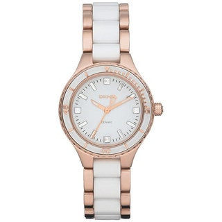 DKNY Women's NY8500 Two-Tone Ceramic Quartz Watch with White Dial