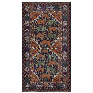 Afghan Hand-knotted Tribal Balouchi Navy/ Brown Wool Rug (3'8 x 6'8)
