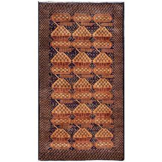 Afghan Hand-knotted Tribal Balouchi Navy/ Light Brown Wool Rug (3'6 x 6'4)