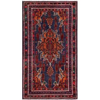 Afghan Hand-knotted Tribal Balouchi Dark Blue/ Rust Wool Rug (3'7 x 6'4)