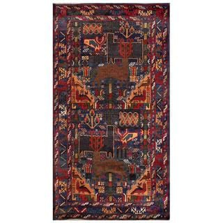 Afghan Hand-knotted Tribal Balouchi Dark Grey/ Brown Wool Rug (3'6 x 6'6)