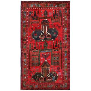 Afghan Hand-knotted Tribal Balouchi Red/ Brown Wool Rug (3'9 x 6'7)
