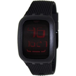 Swatch Men's Irony SURB102 Black Rubber Swiss Quartz Watch with Digital Dial