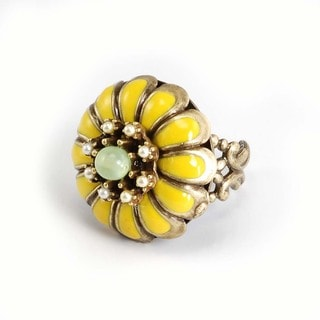 Sweet Romance Bronzetone Yellow Marigold Flower Ring
