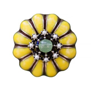 Sweet Romance Yellow Flower and Pearl Adjustable Ring