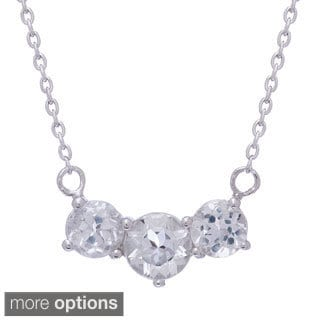Jenne Sterling Silver Gemstone and White Topaz 3-stone Necklace