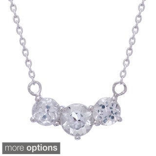 Gioelli Jenne Sterling Silver Gemstone and White Topaz 3-stone Necklace