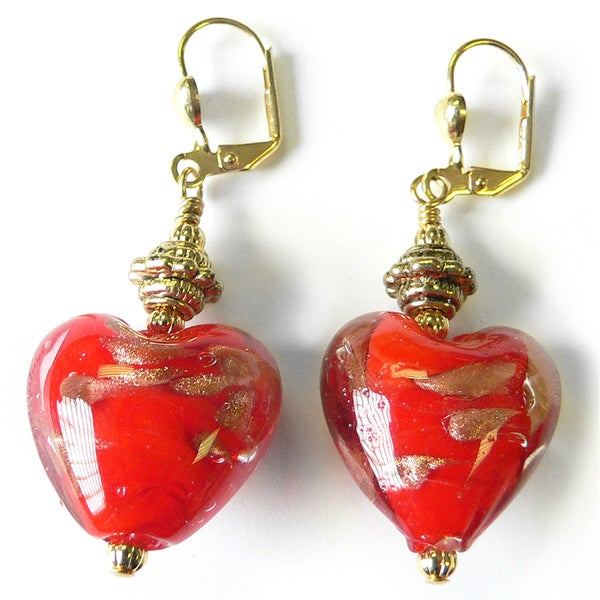 Palmtree Gems 'Lou-Lou' Glass Heart Dangle Earrings