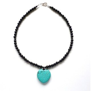 Every Morning Design Turquoise Heart On Obsidian Necklace