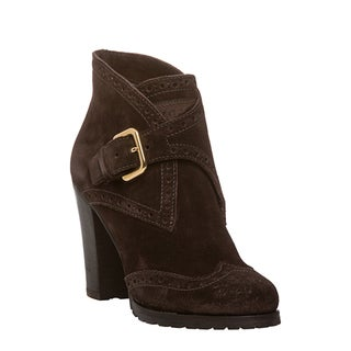 Prada Women's Dark Brown Suede Wing-tip Booties