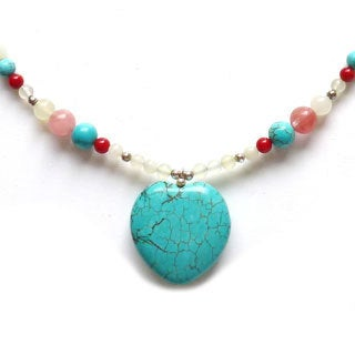 Every Morning Design Turquoise Heart and Cherry Quartz Necklace