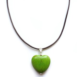 Every Morning Design Green Turquoise Heart On Leather Necklace