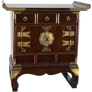 Korean Antique Style 3 Drawer End Table Cabinet (Korea)