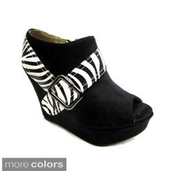 Luv's Women's Zebra 'Andrea' Wedge Heels
