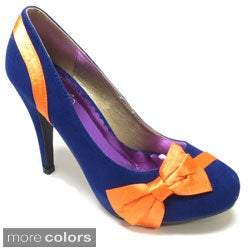 Luv's Women 'Catucia' Suede and Satin Bow-topped Pumps