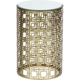 Geometric Antique Brass Finished Accent Table