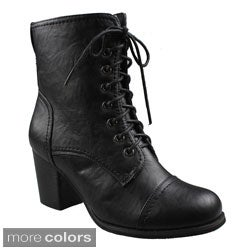 Refresh Women's 'Ariel' Lace-up Chunky Heel Boots