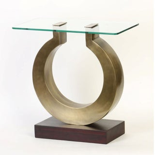 Glass Top Omega Accent Table