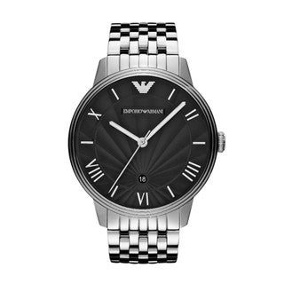 Armani Men's Classic Scalloped Black Dial Watch