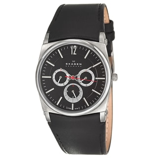 Skagen Men's 'Leather' Stainless Steel Watch