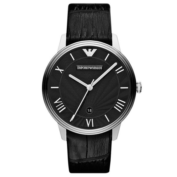 Emporio Armani Men's AR1611 'Classic' Black Leather Watch