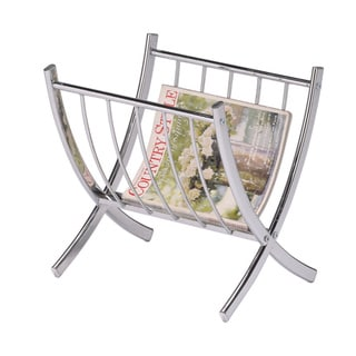 Contemporary Chrome Metal Magazine Rack