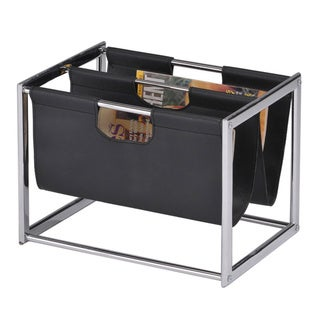 Contemporary Chrome/ Black Magazine Book Rack