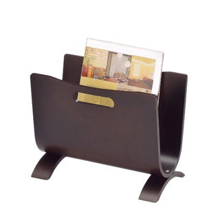 Contemporary Dark Walnut Wooden Magazine Rack