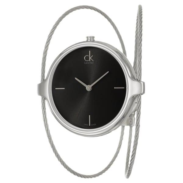 Calvin Klein Women's 'Agile' Black Dial Stainless Steel Swiss Quartz Watch 11532339