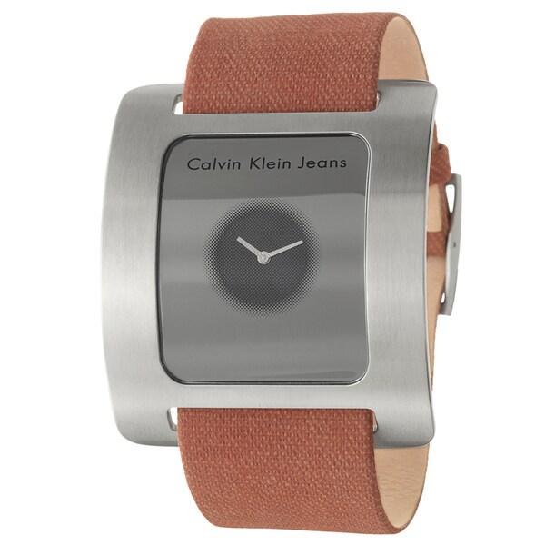Calvin Klein Jeans Women's 'Ray' Salmon Canvas Strap Swiss Quartz Watch