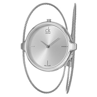 Calvin Klein Women's 'Agile' Silvertone Dial Stainless Steel Swiss Quartz Watch