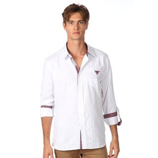 191 Unlimited Men's Slim Fit White Button-down Woven Shirt