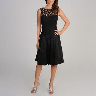 Ignite Evenings Women's Black Lattice Neckline Fit-N-Flare Dress