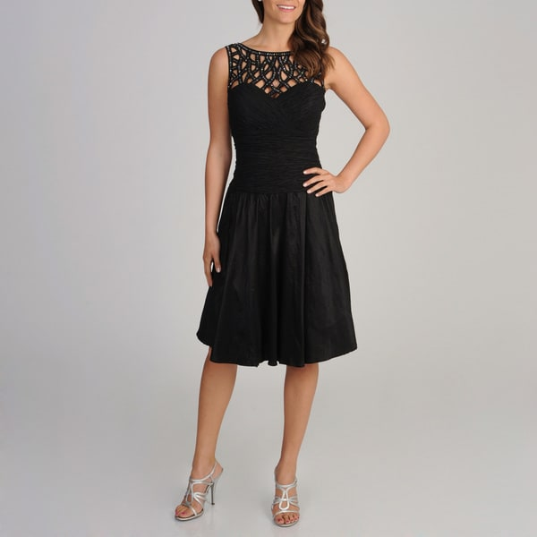 Ignite Evenings Women's Black Lattice Neckline Fit-N-Flare Dress