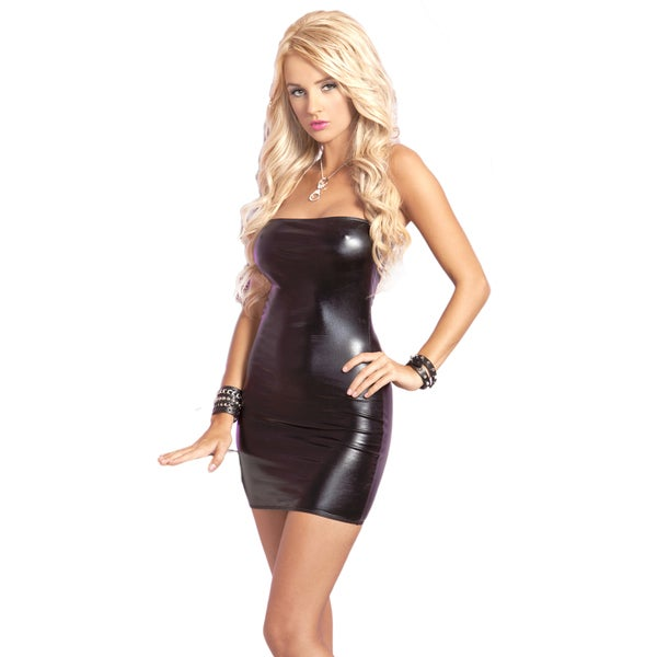 Pink Lipstick Black Mini Dress