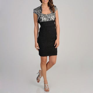 S.L. Fashions Women's 2-piece Black Lace Dress and Bolero