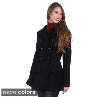 Miss Sixty Double Breasted Peplum Faux Wool Coat