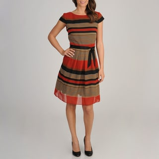 S.L. Fashions Women's Rust Striped Cap-sleeve Dress