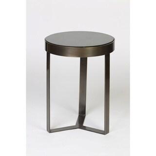 Antique Brass Black Granite Round Top Accent Table