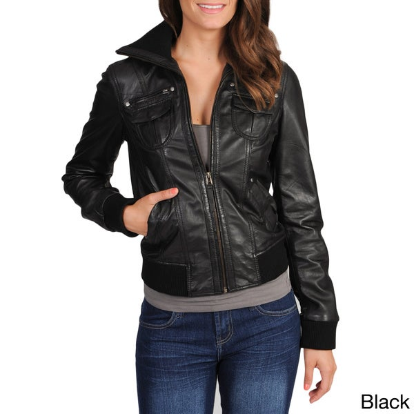 Whet blu Women's Leather Bomber Jacket