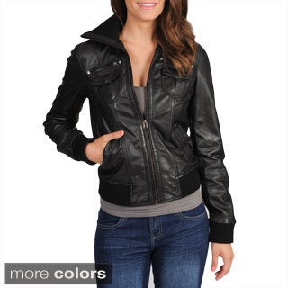 Whet blu Women's Leather Bomber Jacket
