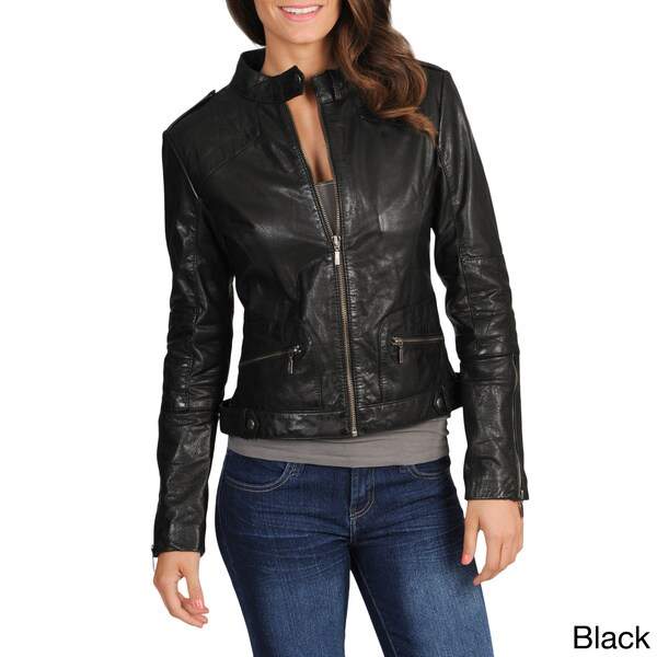 Whet blu Women's Quilted Shoulder Moto Leather Jacket
