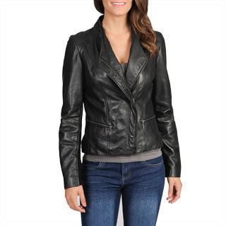 Whet blu Women's Asymmetrical Closure Leather Jacket