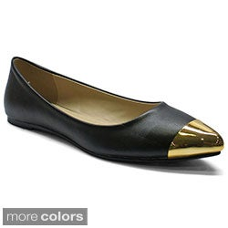 Betani Women's 'Natalie-1' Goldtone Toe-cap Pointed Flats
