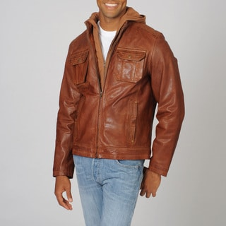 Whet blu Men's Whiskey Distressed Hoodie Leather Jacket