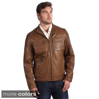 Whet blu Men's Distressed Military Bomber Leather Jacket