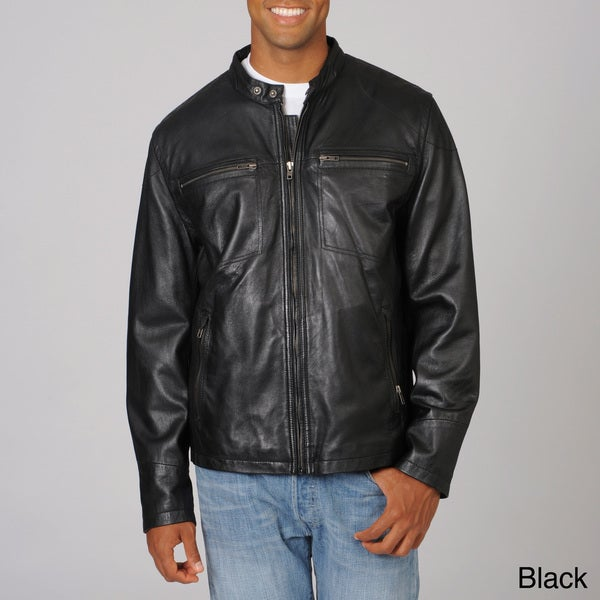 Whet blu Men's Brown Scooter Collar Cruiser Leather Jacket