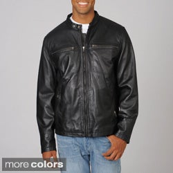 Whet blu Men's Brown Scooter Collar Cruiser Leather Jacket