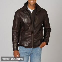 Whet blu Men's Black Double Collared Leather Jacket