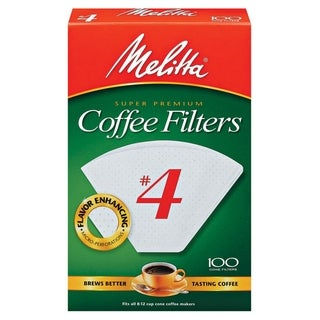 Melitta 624102 #4 Paper White Cone Coffee Filters- 400 Count